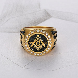 GUNGNEER Round Masonic Ring Multi-size Stainless Steel Free Mason Ring For Men