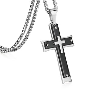 GUNGNEER Stainless Steel God Cross Necklace Jesus Pendant Chain Jewelry For Men Women