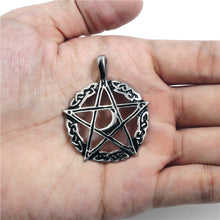 Load image into Gallery viewer, GUNGNEER Celtic Wicca Pagan Star Pentagram Pentacle Pendant Necklace Ring Jewelry Set Men Women