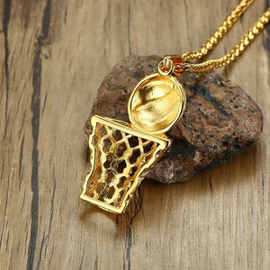 GUNGNEER Stainless Steel Basketball Rim Necklace Sporty Hip Hop Jewelry For Boys Girls