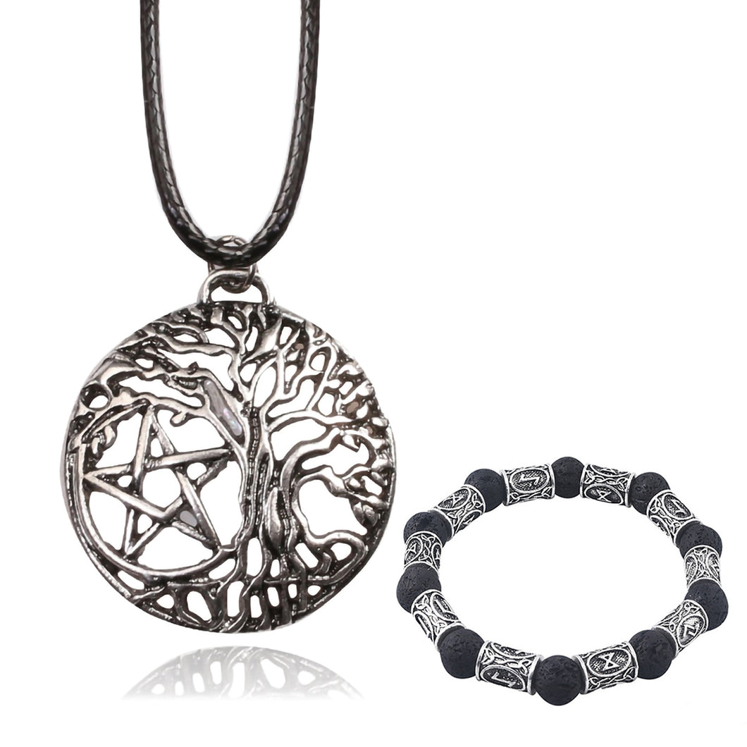 GUNGNEER Pentacle Pentagram Tree of Life Pendants Necklaces Beaded Bracelet Wicca Jewelry Set