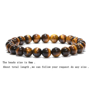 HoliStone Tiger Eye Natural Stone Beads Bracelet ? Anxiety Stress Relief Yoga Beads Bracelets Chakra Healing Crystal Bracelet for Women and Men