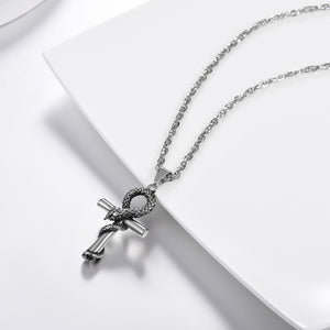 GUNGNEER Egyptian Ankh Cross Snake Necklace Link Chain Bracelet Stainless Steel Jewelry Set