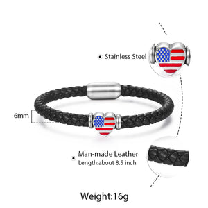 GUNGNEER Women Men Black Leather Braided Rope USA American Flag Heart Bracelet Charm Jewelry