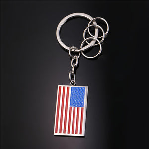 GUNGNEER Stainless Steel USA American Flag Keychain Ring Chain Accessories Gift Men Women