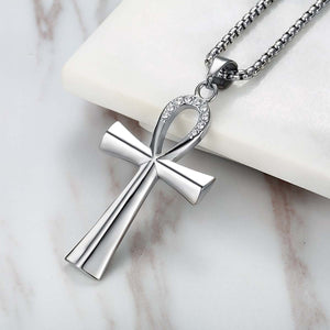GUNGNEER Egyptian Ankh Cross Necklace Cuban Chain Bracelet Stainless Steel Pyramid Jewelry Set