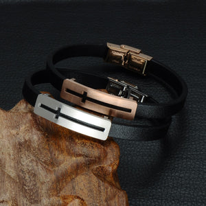 GUNGNEER Leather Stainless Steel Cross Bracelet Christian Jewelry Accessory For Men Women