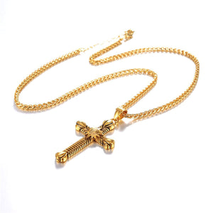 GUNGNEER Christian Necklace Cross Sun Sola Pendant Jewelry Accessory Outfit For Men Women
