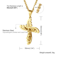Load image into Gallery viewer, GUNGNEER Stainless Steel Cross Necklace Jesus Pendant Jewelry Accessory For Men Women