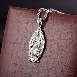 GUNGNEER Christian Classic Mother of God Mary Pendant Necklace Wheat Chain Jewelry Talisman