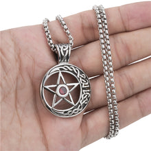 Load image into Gallery viewer, GUNGNEER Stainless Steel Wicca Celtic Moon Pentagram Pendant Necklace Signet Ring Jewelry Set