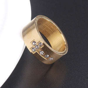 GUNGNEER Christian Cross Ring Stainless Steel God Jewelry Accessory Gift For Men Women