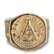 Load image into Gallery viewer, GUNGNEER Masonic Ring Multi-size Past Master Symbol Freemason Accessory For Men