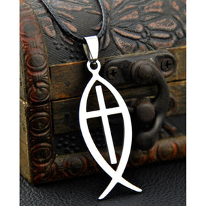 GUNGNEER Jesus Cross Necklace Ichthys Christ Fish Chain Jewelry Accessory For Men Women