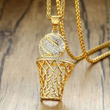 Load image into Gallery viewer, GUNGNEER Stainless Steel Basketball Rim Necklace Sporty Hip Hop Jewelry For Boys Girls