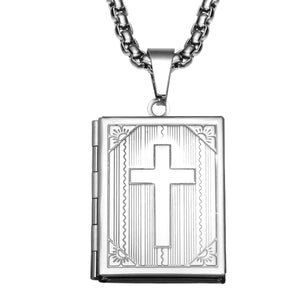 GUNGNEER God Cross Bible Necklace Christian Pendant Chain Jewelry Gift For Men Women