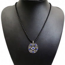 Load image into Gallery viewer, GUNGNEER Blue Cubic Zirconia Pentagram Pendant Necklace Curb Chain Bracelet Jewelry Set