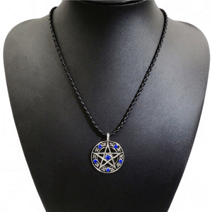 GUNGNEER Blue Cubic Zirconia Pentagram Pendant Necklace Curb Chain Bracelet Jewelry Set
