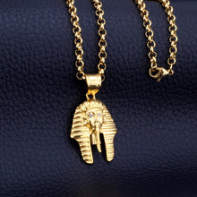 Load image into Gallery viewer, GUNGNEER Goldtone King Pharaoh Stainless Steel Necklace Crystal Ring Egyptian Jewelry Set