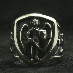 GUNGNEER The Archangel St Michael Ring Biker Accessory Stainless Steel Jewelry For Men