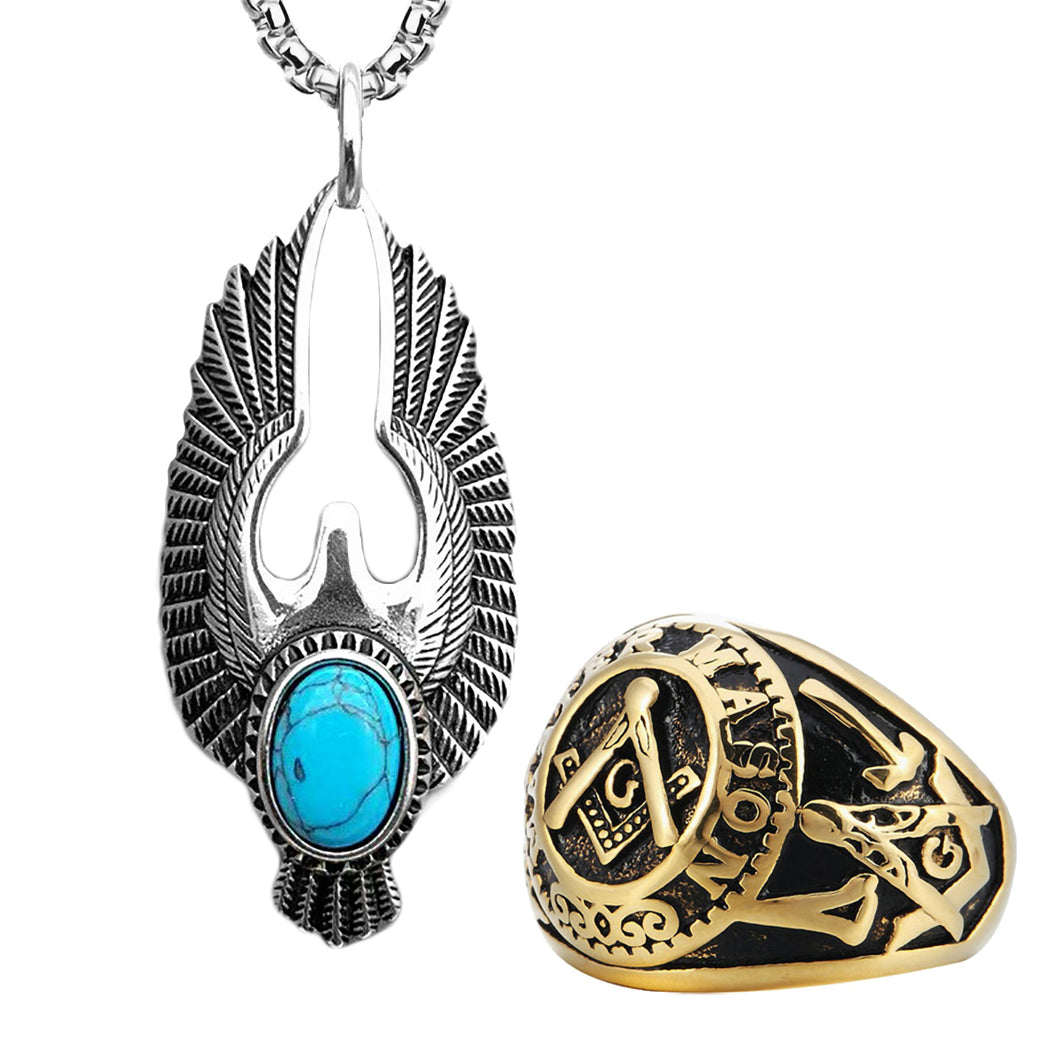 GUNGNEER Masonic Ring For Men Eagle Wing Pendant Necklace Stainless Steel Jewelry Set