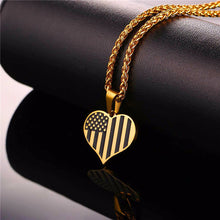 Load image into Gallery viewer, GUNGNEER Stainless Steel US American Flag Heart Shape Pendant Necklace Jewelry Accessories