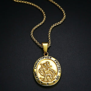 GUNGNEER St Christopher Necklace Prayer Protect Us Stainless Steel Jewelry For Men Women
