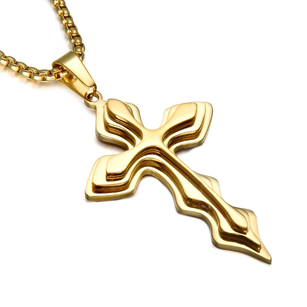 GUNGNEER Stainless Steel God Cross Necklace Christ Pendant Jewelry Outfit For Men Women