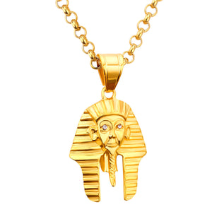 GUNGNEER Goldtone King Pharaoh Stainless Steel Necklace Crystal Ring Egyptian Jewelry Set