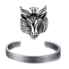 Load image into Gallery viewer, GUNGNEER Satanic Goat Head Baphomet Rings Stainless Steel Bracelet Jewelry Set Accessory