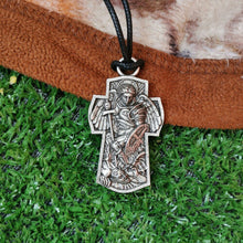 Load image into Gallery viewer, GUNGNEER St Michael Cross Necklace Black Rope Chain Protection Jewelry For Men Women