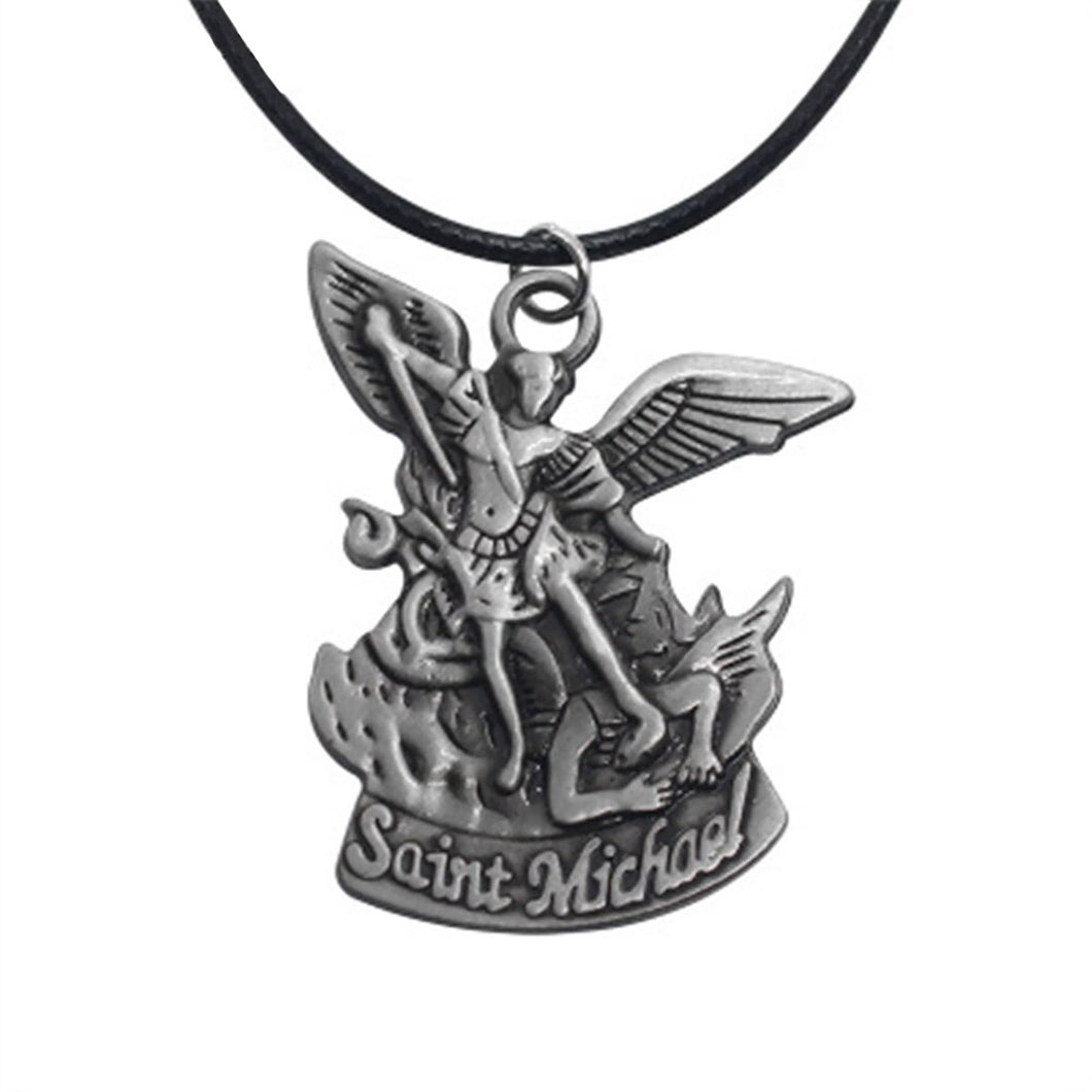 GUNGNEER Prayer Angel Wing St Michael Necklace Rope Chain Jewelry For Men Women
