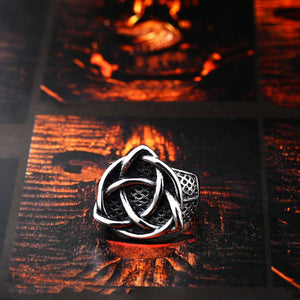 GUNGNEER Stainless Steel Celtic Knot Signet Ring Scandinavn Jewelry Accessories for Men Women