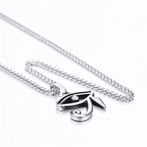 GUNGNEER Stainless Steel Eye of Horus Necklace Link Chain Ring Protection Egyptian Jewelry Set