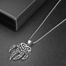 Load image into Gallery viewer, GUNGNEER Stainless Steel Viking Bear Paw Irish Celtic Knot Triquetra Pendant Necklace Jewelry