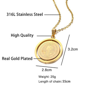 GUNGNEER Saint Benedict Medal Stainless Steel Pendant Necklace with Bangle Jewelry Set