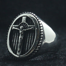 Load image into Gallery viewer, GUNGNEER Christian Cross Ring Many Sizes Stainless Steel Jesus Jewelry Accessory For Men
