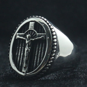 GUNGNEER Christian Cross Ring Many Sizes Stainless Steel Jesus Jewelry Accessory For Men