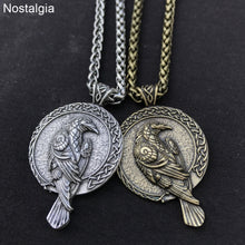 Load image into Gallery viewer, ENXICO Odin's Huginn and Muninn Ravens Pendant Necklace with Runic Circle Surrounding ? Nordic Scandinavian Viking Jewelry