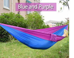2TRIDENTS Nylon Camping Hammock - Lightweight Portable Hammock, Parachute Double Hammock for Backpacking, Camping, Travel, Beach, Yard (Blue + Camel)