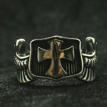 Load image into Gallery viewer, GUNGNEER Cross Shield Ring Multi-size Stainless Steel God Jesus Jewelry Accessory For Men