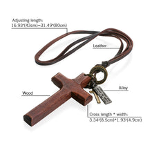 Load image into Gallery viewer, GUNGNEER Leather Wooden Christian Cross Pendant Necklace God Jewelry Gift For Men Women