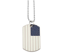 Load image into Gallery viewer, GUNGNEER Stainless Steel American Flag Pendant Necklace USA Patriot Freedom Bead Chain Jewelry