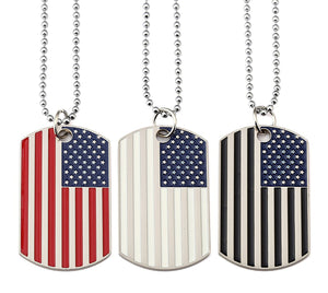 GUNGNEER Stainless Steel American Flag Pendant Necklace USA Patriot Freedom Bead Chain Jewelry