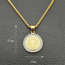 Load image into Gallery viewer, GUNGNEER Stainless Steel Saint Benedict Medal Pendant Necklace with Ring Catholic Jewelry Set