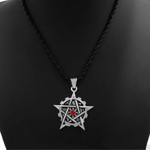 Load image into Gallery viewer, GUNGNEER Wicca Pagan Pentagram Red Stone Pendant Necklace Rope Chain Braclet Amulet Jewelry Set