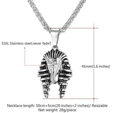 Load image into Gallery viewer, GUNGNEER King Pharaoh Stainless Steel Pendant Necklace Stars 8mm Wide Ring Egyptian Jewelry Set