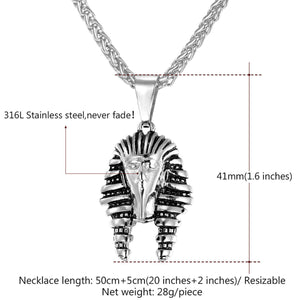 GUNGNEER King Pharaoh Stainless Steel Pendant Necklace Stars 8mm Wide Ring Egyptian Jewelry Set