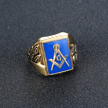 Load image into Gallery viewer, GUNGNEER Mens Blue Lodge Masonic Ring Gold Plated Antique Freemason Jewelry For Men