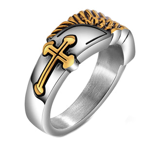 GUNGNEER Christian Cross Ring Stainless Steel Christ God Jewelry Accessory For Men Women